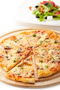 Pizza With Mozzarella, Bacon And Mushrooms_ Served With greek salad_india